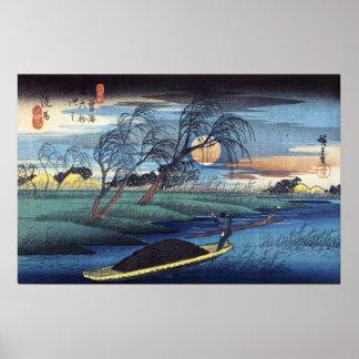 Luna del otoño en Seba, Hiroshige Poster