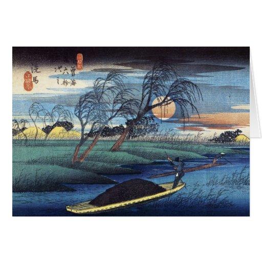 Luna del otoño en Seba, Hiroshige Tarjeta De Felicitación