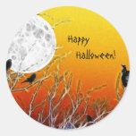 Luna del otoño pegatina redonda