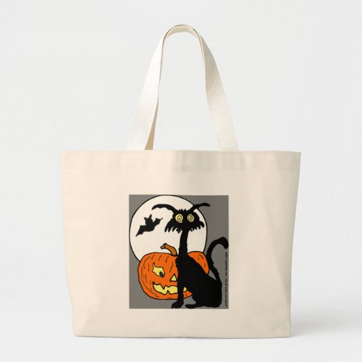 ¡Luna del palo de la calabaza del gato de Hallowee Bolsas De Mano