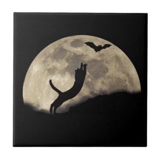Luna del palo del gato azulejo ceramica