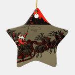 Luna del rojo del trineo de Santa del vintage Adorno Para Reyes