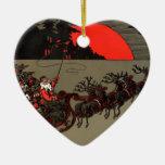 Luna del rojo del trineo de Santa del vintage Ornato