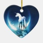 Luna del unicornio ornamentos de navidad