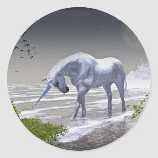 Luna del unicornio etiqueta redonda