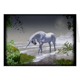 Luna del unicornio tarjeta de felicitación