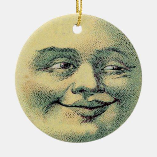 Luna del vintage adorno redondo de cerámica
