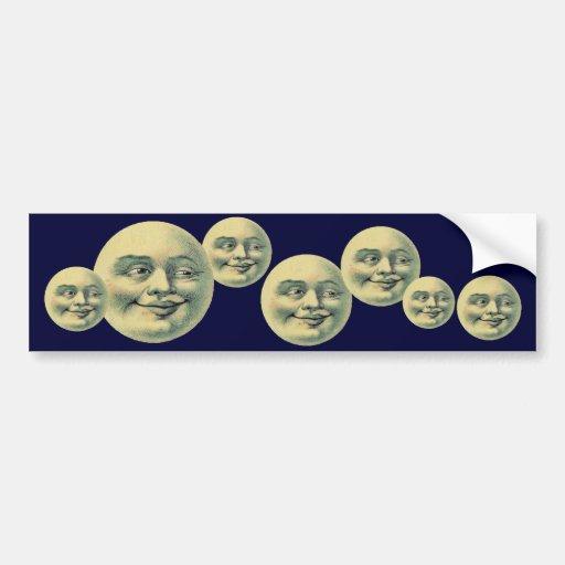 Luna del vintage pegatina de parachoque