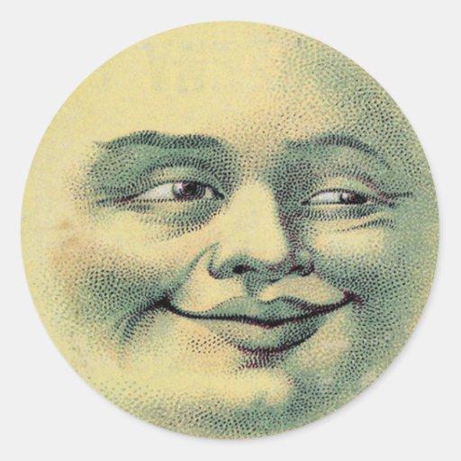 Luna del vintage pegatina redonda