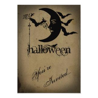 """Luna del vintage y fiesta crecientes de Halloween Invitación 5"""" X 7"""""""