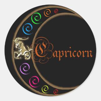 Luna del zodiaco del Capricornio Pegatina Redonda