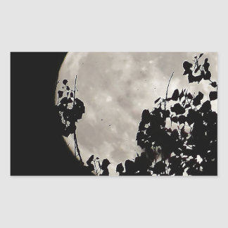 Luna detrás de las hojas oscuras pegatina rectangular