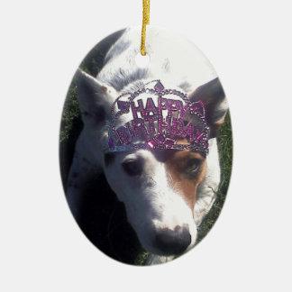 Luna dice la tiara del feliz cumpleaños ornamento para reyes magos