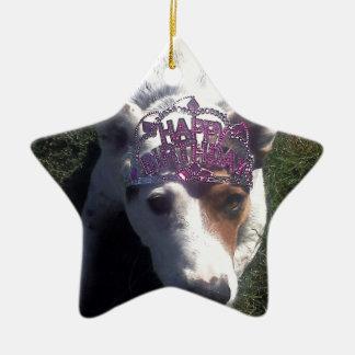 Luna dice la tiara del feliz cumpleaños adorno de navidad