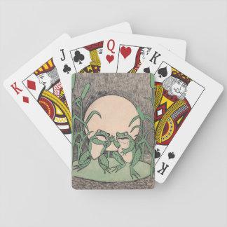 Luna divertida de dos del vintage ranas verdes del barajas de cartas