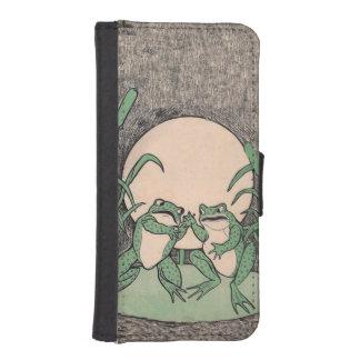 Luna divertida de dos del vintage ranas verdes del billetera para teléfono