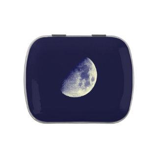 Luna en cielo azul frascos de caramelos
