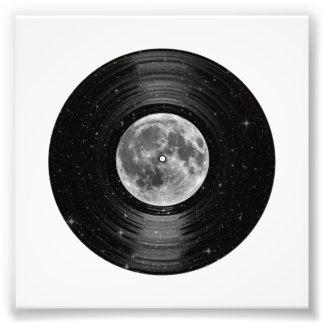 Luna en el expediente de LP del vinilo del espacio Cojinete
