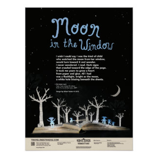Luna en la ventana póster