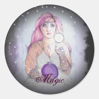 Luna en un Pagan de Wiccan de la bruja de la botel Pegatinas