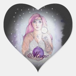 Luna en un Pagan de Wiccan de la bruja de la Pegatina En Forma De Corazón