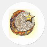 Luna-Estrella - Islam Pegatina Redonda
