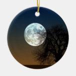 Luna estupenda adorno navideño redondo de cerámica