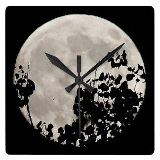 Luna estupenda del reloj detrás de las hojas