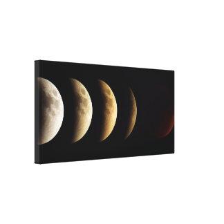Luna estupenda, luna de la sangre, eclipse lunar, lona envuelta para galerias