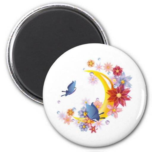 Luna, flores y mariposas imán de nevera