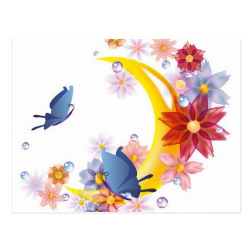 Luna, flores y postal de las mariposas