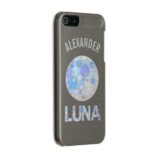 Luna friki azul y púrpura de la Luna Llena del Carcasa De Iphone 5 Incipio Feather Shine