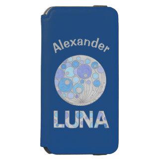Luna friki azul y púrpura de la Luna Llena del Funda Cartera Para iPhone 6 Watson