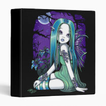 luna, moon, lilly, lillie, flower, lady, bug, night, sky, stars, fantasy, gothic, celestial, art, big, eyed, myka, jelina, mika, faeries, nymphs, sprites, Binder with custom graphic design