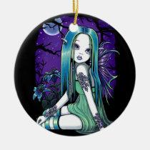 luna, moon, lilly, lillie, flower, lady, bug, night, sky, stars, fantasy, gothic, celestial, art, big, eyed, myka, jelina, mika, faeries, Ornament with custom graphic design