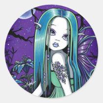luna, moon, lilly, lillie, flower, lady, bug, night, sky, stars, fantasy, gothic, celestial, art, big, eyed, myka, jelina, mika, acrylic, Sticker with custom graphic design