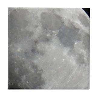 Luna gris en cielo negro azulejo cuadrado pequeño