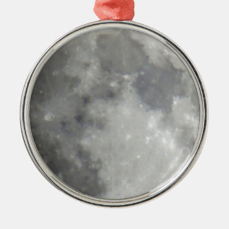 Luna gris en cielo negro adorno redondo plateado