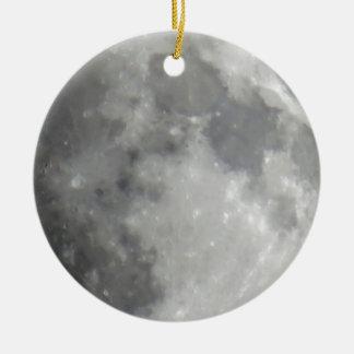Luna gris en cielo negro adorno redondo de cerámica