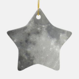 Luna gris en cielo negro adorno de cerámica en forma de estrella