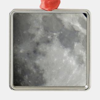 Luna gris en cielo negro adorno cuadrado plateado
