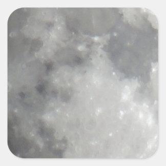 Luna gris en cielo negro pegatina cuadrada