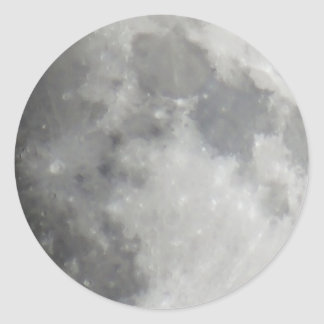 Luna gris en cielo negro pegatina redonda