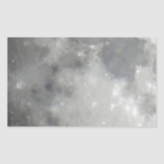Luna gris en cielo negro pegatina rectangular