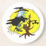 luna Halloween del amarillo del árbol del vuelo de Posavasos Personalizados