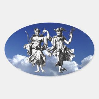 Luna & Hermes Oval Sticker