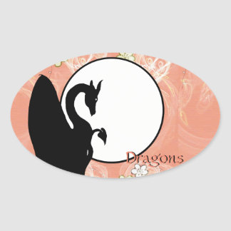 Luna I (flores de color salmón) del dragón Pegatina Ovalada