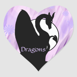 Luna I (lavanda del dragón florecida) Pegatina En Forma De Corazón