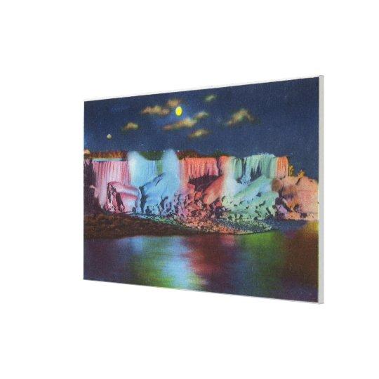 Luna Island Night View of New Rainbow Bridge Canvas Print