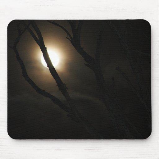 Luna Llena a través del árbol desnudo Tapete De Ratón